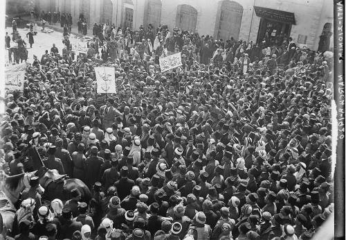 Demonstration in Jerusalem in 1920 in favour of a Damascus-led Arab nation.