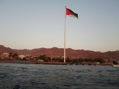 The Aqaba Flagpole holding the flag of the Arab Revolt, commemorating the site of the Battle of Aqaba   Rashdan mohammad al-rashdan