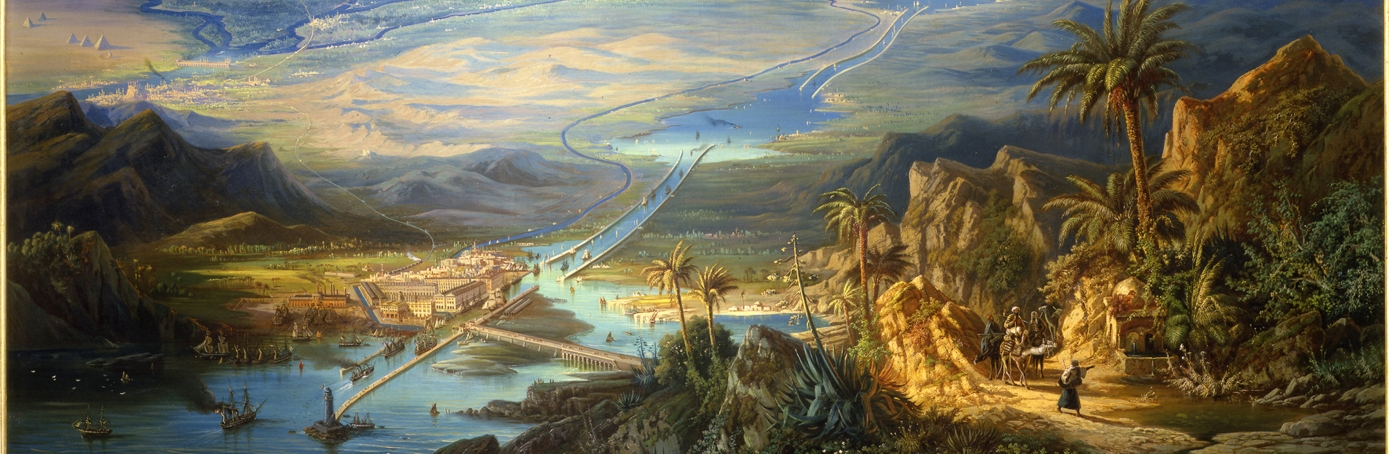 Painting of the Suez Canal by Albert Reiger (Click to enlarge)