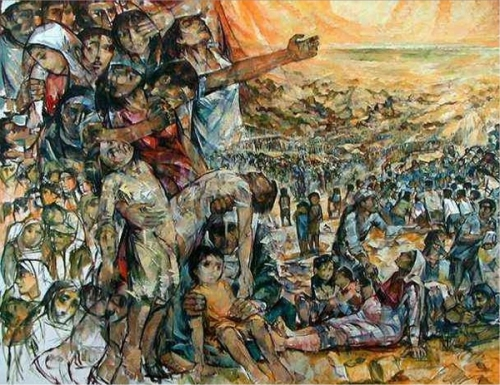 The Road to Nowhere by Ismail Shammout 1930-2006. He was expelled from Lydda in 1948. The plight of the refugees is depicted in many of his most famous paintings. (Displaced Palestinians)