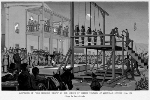 1864.The hanging of the Chilcotin Chiefs.Drawing by Shawn Swankey