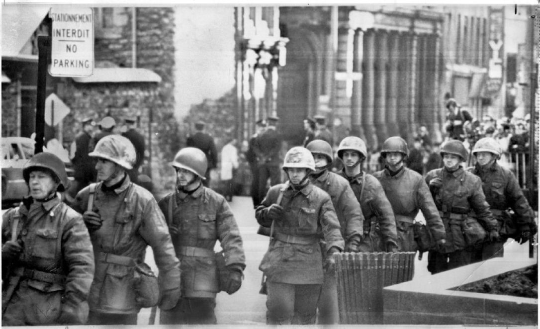 1970.Troops on Montreal streets.Torstar