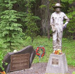 Monument to those interned at the Castle Mountain camp in Alberta.