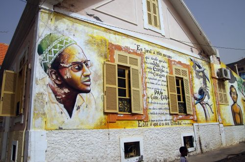 mural on the wall of the amílcar cabral foundation offices in praia, cape verde