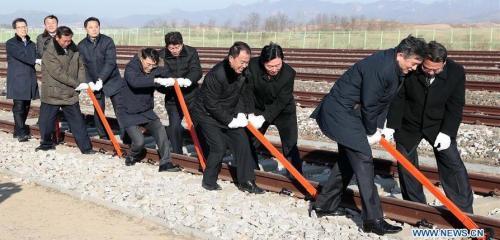 2018.12.26-DPRK-Kaesong-GroundBreakRail-RoadConnect-Xinhua-01
