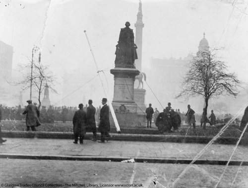 A photograph depicting a scene in George Square on 'Bloody Friday'