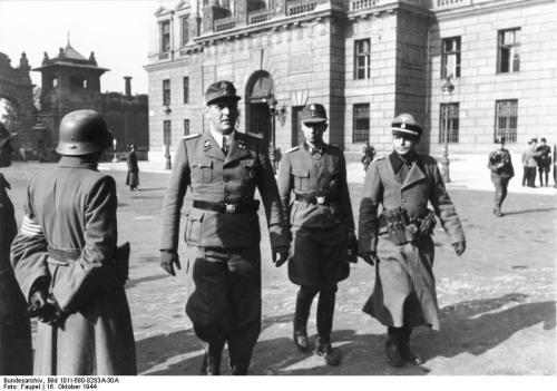 German SS officers Sturmbannführer Otto Skorzeny and Untersturmführer Adrian von Fölkersam in Budapest, Hungary, 16 Oct 1944